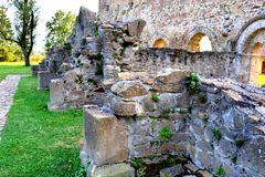 Walls. Ruins of medieval cistercian abbey in Transylvania., Romania stock photos