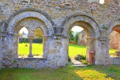 Walls. Ruins of medieval cistercian abbey in Transylvania., Romania stock photo