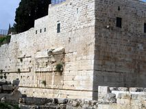 Walls of the Second Temple. Robinson Arch. Led up to the supporting wall and further inward, into the territory of the inner courtyard of the Temple. Here we royalty free stock image