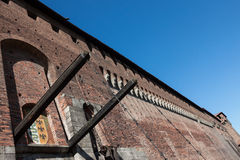 Walls of Sforza Castle (Castello Sforzesco) Stock Image