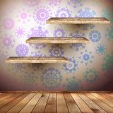Walls with a shelfs decorated snowflakes. EPS 10 Royalty Free Stock Photography