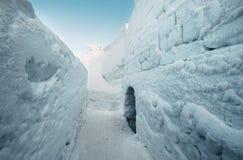 Walls in snow labirinth Stock Photo