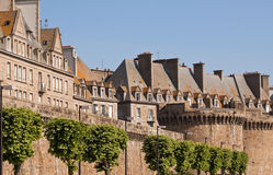 Walls of St. Malo. The city walls and houses of St. Malo in Brittany, France Stock Photos