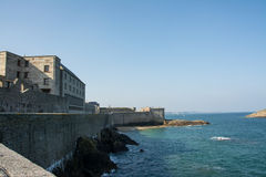 Walls of St Malo. Defensive walls of the Old Town or Intra Muros of St Malo, Brittany, France Stock Images