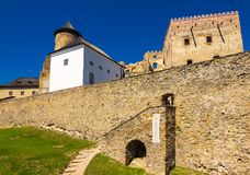 Walls of Stara Lubovna castle. Stara Lubovna, Slovakia - AUG 28, 2016: stone walls of Stara Lubovna castle. popular tourist destination. Bright sunny day with royalty free stock image