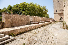 Walls with steel cannons. Royalty Free Stock Images