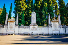 Walls surrounding the Dominican monastery on the Aventine Hill in Rome Royalty Free Stock Images