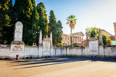 Walls surrounding the Dominican monastery on the Aventine Hill in Rome Stock Image