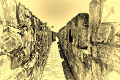 Walls Surrounding the Old City in Jerusalem. Part of the wall surrounding the Old City in Jerusalem, Israel. An important Jewish religious site, Vintage Style Royalty Free Stock Photography