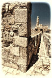Walls Surrounding the Old City in Jerusalem Royalty Free Stock Photography