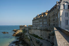Walls of St Malo. The walls surrounding the old town of St Malo in summer. Brittany, France Royalty Free Stock Photography