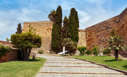 Walls of Tarragona, Spain. A view of the ancient walls of Tarragona, Spain, much of which were built by the ancient romans stock photography