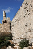 The walls of thel Jerusalem and Tower of David Royalty Free Stock Photos