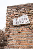 Walls and thermal bathrooms and ruins in Ostia. Sea Royalty Free Stock Photo