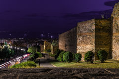 Walls of Thessaloniki, with panoramic view of the city, at dusk Royalty Free Stock Photos