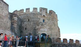 The Walls of Thessaloniki with Triangle Tower Stock Photos