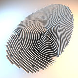 Walls to fingerprint. Dimensional fingerprint made of walls, standing on white background, 3d rendering vector illustration