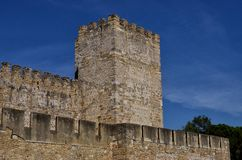 Walls and Tower of the Castle of Saint Jorge Royalty Free Stock Images