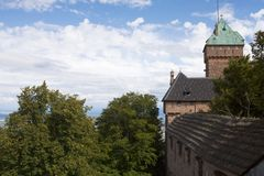 The walls and tower of Haut-Koenigsbourg castle in Alsace, France stock photography