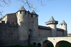 Walls and tower of the medieval castle. In Carcassonne.France Stock Image
