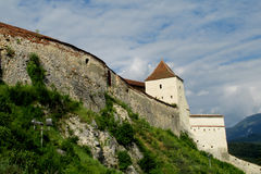 Walls and tower of Rasnov Citadel or fortress inRomania Royalty Free Stock Photography