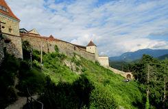 Walls and tower of Rasnov Citadel or fortress inRomania Royalty Free Stock Image