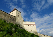 Walls and tower of Rasnov Citadel or fortress inRomania Stock Image