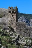 Walls and tower of a stone fortress in the mountains, Montenegro Royalty Free Stock Images