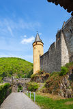 Walls and towers of beautiful Vianden castle. On the north of Luxembourg Stock Photos