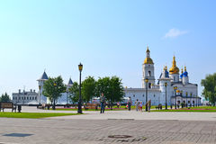 Walls, towers, a belltower and Sofia Uspensky a cathedral in the Royalty Free Stock Image
