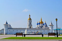 Walls, towers, a belltower and Sofia Uspensky a cathedral in the Tobolsk Kremlin. Royalty Free Stock Image