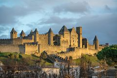 Walls and towers of Carcassonne, France Royalty Free Stock Photography