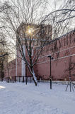 Walls and towers of the fortress monastery Moscow Russian winter Royalty Free Stock Photos