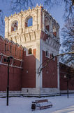 Walls and towers of the fortress monastery Moscow Russian winter Royalty Free Stock Photography