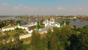 Walls and towers of the Ipatiev Monastery, Kostroma, Russia aerial view stock video