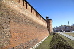 Walls and towers of Kremlin in Kolomna Stock Photos