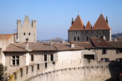Walls and towers of the medieval castle Royalty Free Stock Photography