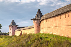 Walls and towers of monastery Saint Euthymius in Suzdal, Russia Royalty Free Stock Photography