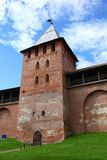 Walls and towers of the Novgorod Kremlin Royalty Free Stock Images