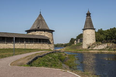 The walls and towers of Pskov Kremlin on the banks of the river Royalty Free Stock Photography