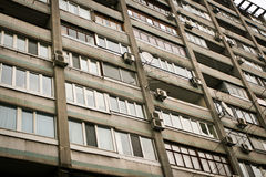 Walls and windows of the old Soviet houses Royalty Free Stock Photo