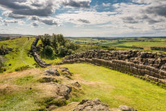 Walltown Crags on Hadrians Wall. Hadrians Wall is a World Heritage Site at the start of the beautiful Northumberland National Park Royalty Free Stock Images