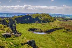 Walltown-Felsspitzen auf Hadrians wal Stockfotografie