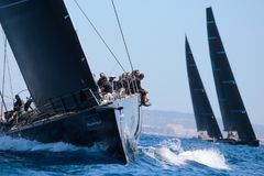Wally类赛船会在马略卡 免版税库存图片