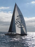 Wally Class yacht. The Wally Cento is the latest evolution in high-tech racing performance married to spacious and comfortable interiors. This 100-foot 'box Royalty Free Stock Photography