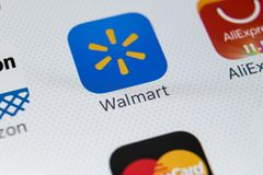 Walmart application icon on Apple iPhone X screen close-up. Walmart app icon. Walmart.com is multinational retailing corporation. Sankt-Petersburg, Russia Royalty Free Stock Images