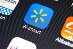 Walmart application icon on Apple iPhone X screen close-up. Walmart app icon. Walmart.com is multinational retailing corporation. Sankt-Petersburg, Russia Royalty Free Stock Photo