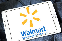 Walmart logo. Logo of the international chain of convenience stores walmart on samsung tablet Royalty Free Stock Photo