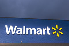 Walmart Sign illuminated at night Royalty Free Stock Photo
