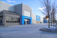Walmart store exterior. Walmart is an American multinational corporation that runs large discount stores and is the world`s larges stock photography